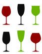 colorful wine glasses set