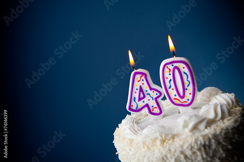 Cake Birthday With Candles For 40th