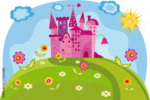 plakat Colorful illustration with princess castle