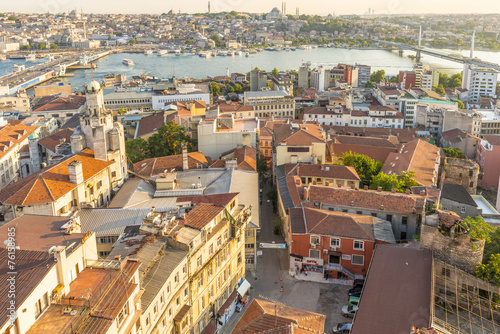 City on the water evening panorama of Istanbul