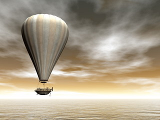 Fototapeta Vintage Hot air baloon - 3D render