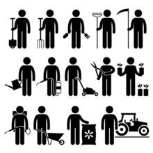Gardener Worker Gardening Tools Equipments Pictogram