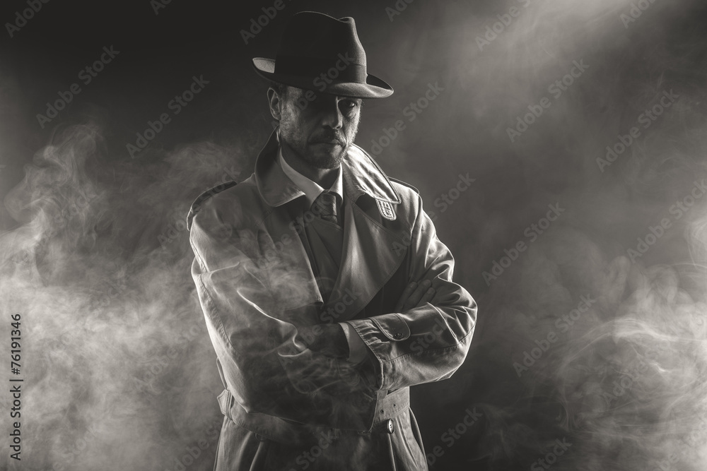 Fototapeta Mysterious man waiting in the fog
