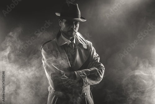 Mysterious man waiting in the fog Wallpaper Mural