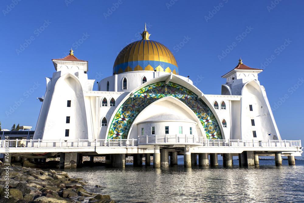 Fototapeta Masjid selat Mosque in Malacca Malaysia