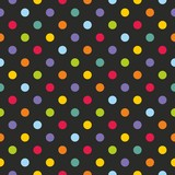 Tile vector pattern with polka dots on black background - 76204997