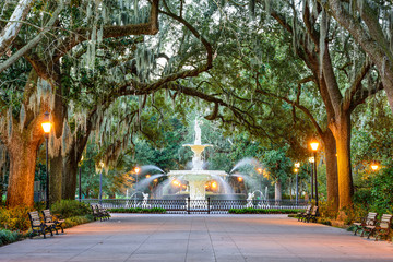 Forsyth Park in Savannah, Georgia, USA