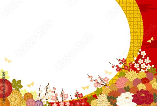 Fotografía  満開の花と和風背景
