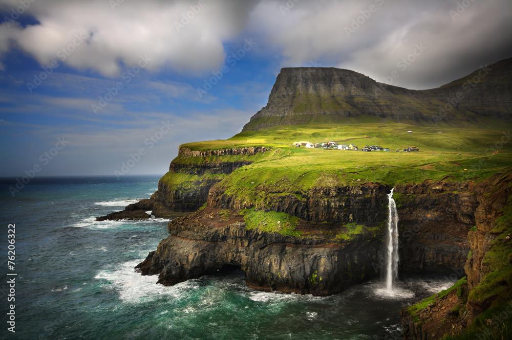 Fototapety, obrazy: Gasadalur village in Faroe Islands. Cliffs and waterfall.