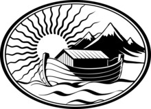 Noah's Ark, In The Sea Near The Land, Mountains, Illuminated By