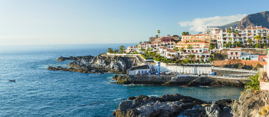 Panorama La Caleta fishing village on the coast of Tenerife isla