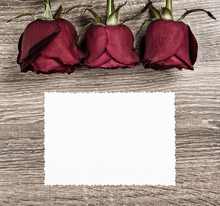 Red Rose Flower With Blank Sheet On Wood