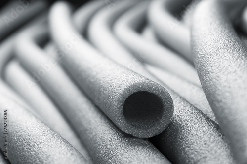 Insulation for pipes closeup Canvas Print