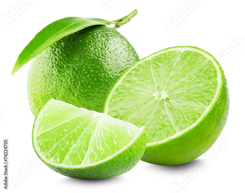 Fotografie, Obraz  Lime with slice and leaf isolated on white background