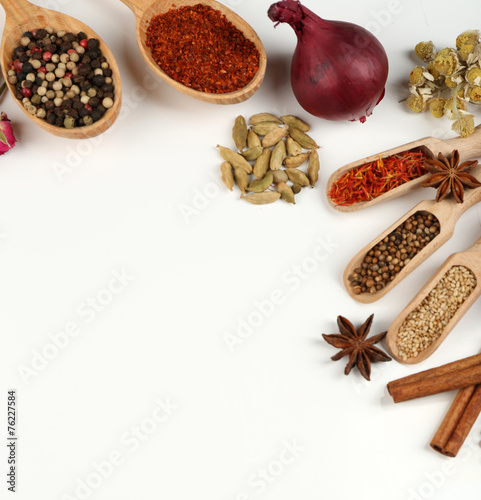 Foto op Canvas Kruiden 2 Different spices and herbs in wooden spoons isolated on white
