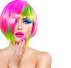 Panel Szklany Podświetlane Do fryzjera Beauty fashion model girl with colorful dyed hair