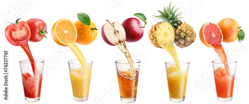 Staande foto Sap Fresh juice pours from fruits and vegetables in a glass.