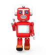 Cute red vintage robot walking and raise right hand