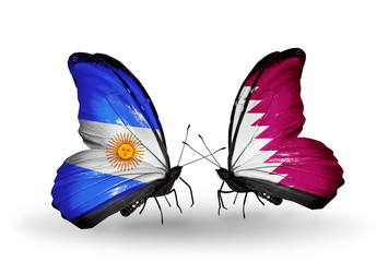 Two butterflies with flags Argentina and Qatar