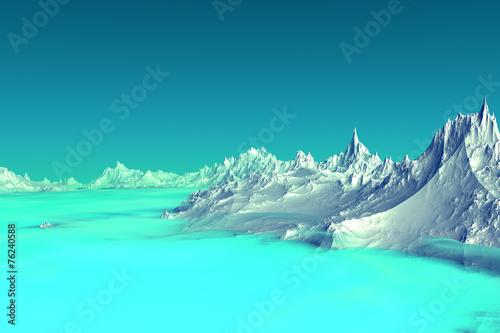 Photo Stands Turquoise 3D rendered fantasy alien planet. Highlands