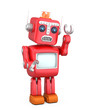 Red vintage robot raising left hand looks sorrowly