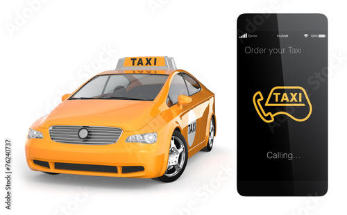 Türaufkleber Schnelle Autos Yellow taxi and smart phone. Mobile taxi order service.