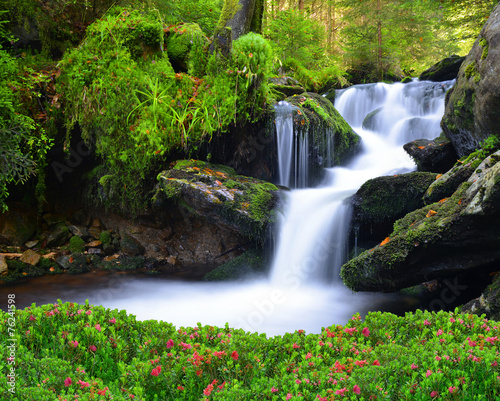 Tuinposter Watervallen Waterfall in the national park Sumava-Czech Republic