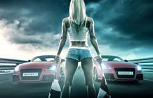 Sexy Blonde Woman Starts Racing
