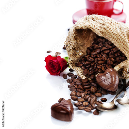 Poster Coffee beans Valentine card