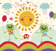 Cartoon Illustration With Happy Frogs, Sun And Bird.