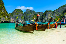 Long-tail Boats In Maya Bay, A...