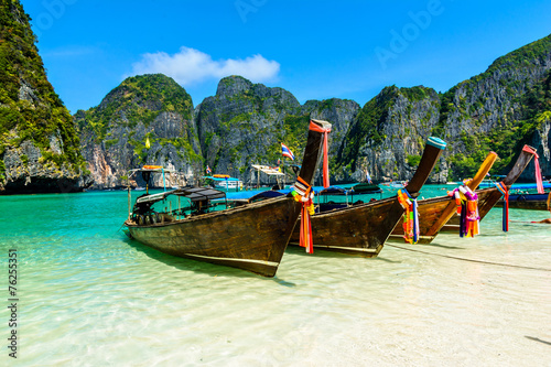 Long-tail boats in Maya Bay, Andaman sea, Thailand, South Asia Canvas Print