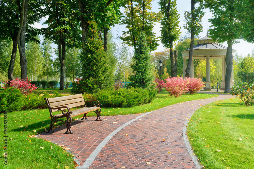 Fototapety, obrazy: Beautiful park with bench