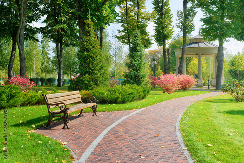 Obraz Beautiful park with bench - fototapety do salonu