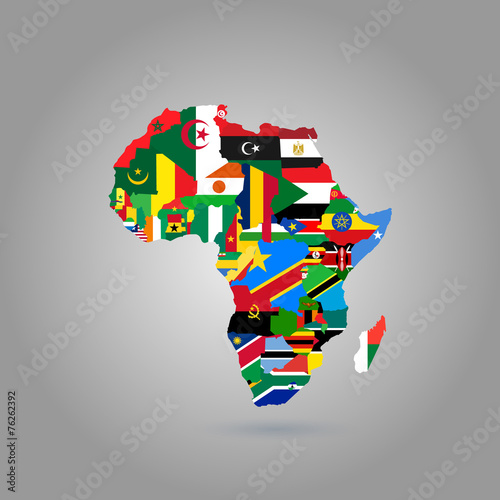 Obraz na plátně Africa Map (with flags)