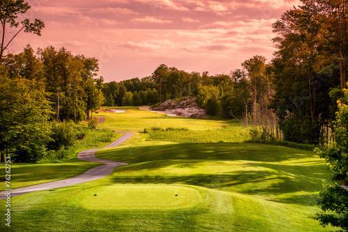 Deurstickers Golf Golf Course at Sunset
