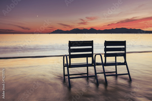 Fotografie, Obraz  Beautiful Cannes beach landscape on the French Riviera