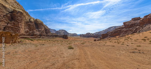 Spoed Foto op Canvas Droogte Wadi Rum desert in Jordan