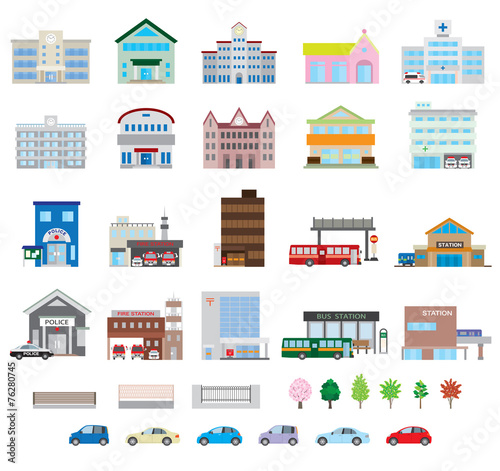 Obraz 様々な建物 - fototapety do salonu