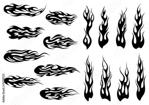 Fototapeta Tribal black fire flames tattoo design