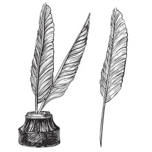 Vector Retro Inkwell And Quill...