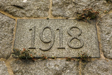 Year 1918 Carved In The Stone. The Years Of World War I.