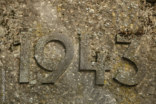 Poster  Year 1943 carved in the stone. The years of World War II.