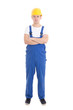 young handsome man in blue builder uniform isolated on white