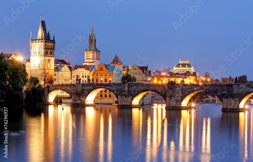 Poster Prague Prague bridge at night