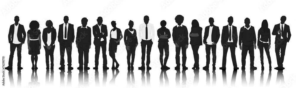 Fototapeta Silhouettes Group People Row Team Teamwork Concept