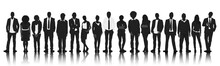 Silhouettes Group People Row T...