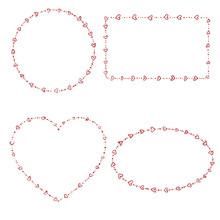 4 Heart Beads Frames. Vector Illustration. Eps10