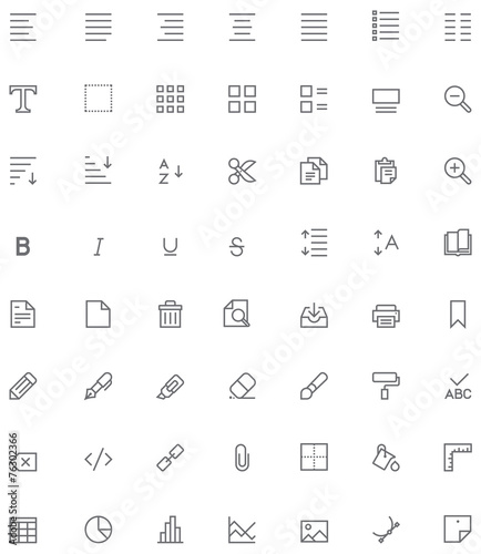 Obraz Text editing icon set - fototapety do salonu