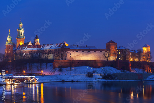 View of  Wawel castle and Vistula River in Krakow in night #76303155